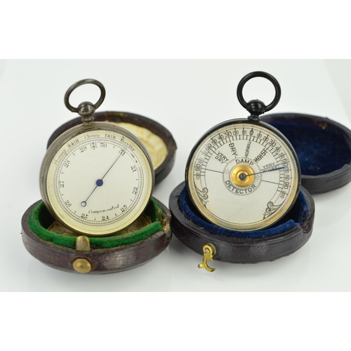 47 - TWO CASED POCKET BAROMETERS, both of circular outline with hinged antique circular cases, the first ...