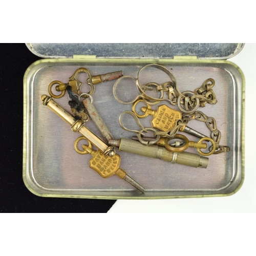 48 - A TIN OF PIECES, to include five watch keys, to short pieces of chain, two T-bars, one with a sprung...
