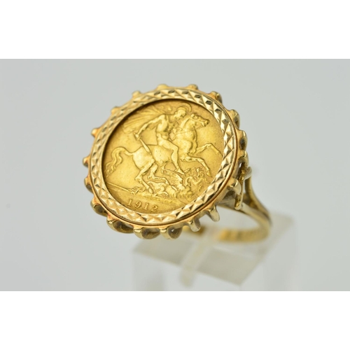55 - A HALF SOVEREIGN 9CT GOLD RING, the half sovereign within a diamond cut pattern mount to the claw ga...