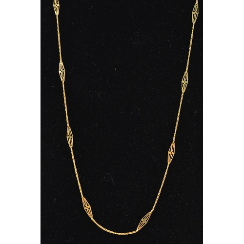 57 - A CHAIN NECKLACE, designed as a fine curb link chain with openwork navette shape spacers along the c...