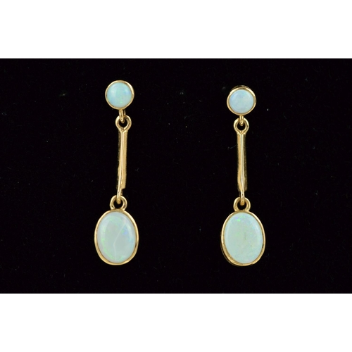 60 - A PAIR OF 9CT GOLD OPAL DROP EARRINGS, each designed as a circular opal within a collet setting susp...