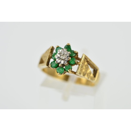 1 - A 9CT GOLD EMERALD AND DIAMOND CLUSTER RING, designed as a central single cut diamond within an illu...