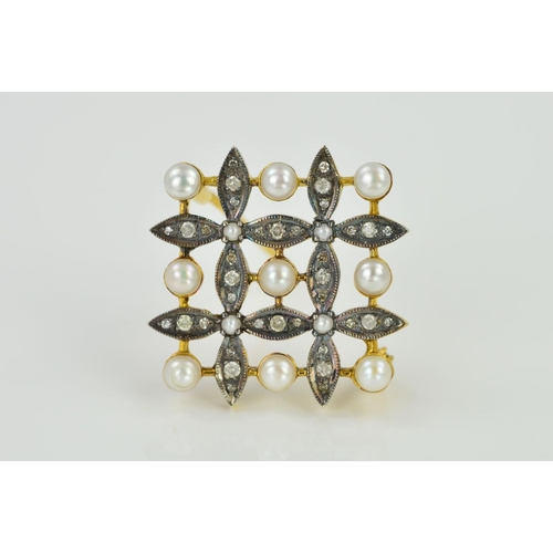 15 - A DIAMOND AND SPLIT PEARL BROOCH, of square outline designed as four flowers each centrally set with...