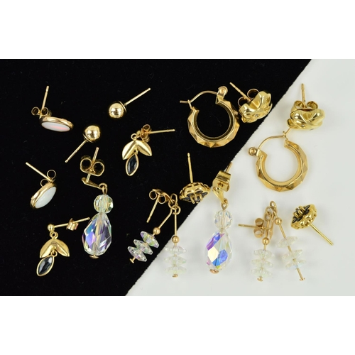 18 - EIGHT PAIRS OF EARRINGS, to include a pair of hoops, two pairs with faceted crystals, a pair set wit...