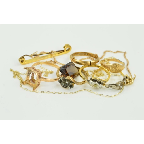 19 - A SELECTION OF BROKEN JEWELLERY, to include six rings, a bar brooch, two fine chains, a loose rectan...