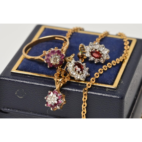 23 - A 9CT GOLD RUBY AND DIAMOND SMALL CLUSTER PENDANT AND FINE CHAIN, measuring approximately 420mm in l...