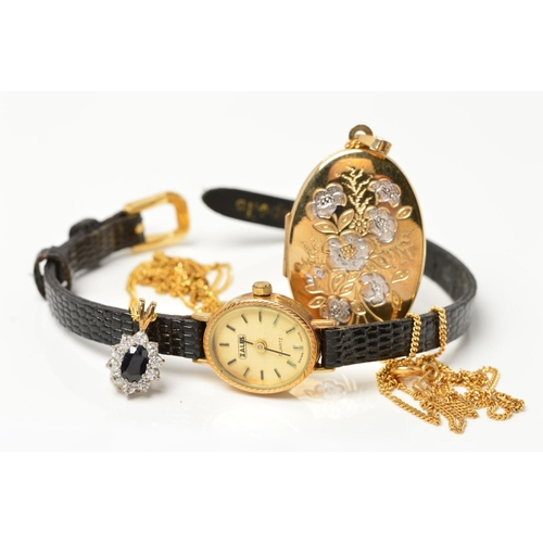 24 - A COLLECTION OF JEWELLERY, to include a 9ct gold Zales ladies quartz wristwatch, fitted to a black l...
