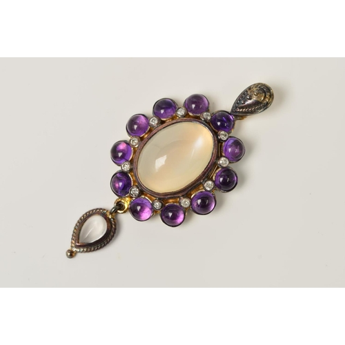 31 - A MOONSTONE, AMETHYST AND DIAMOND PENDANT, designed as a central oval moonstone within a brilliant c...