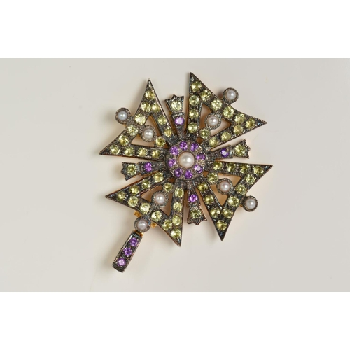35 - A PERIDOT, AMETHYST AND SPLIT PEARL PENDANT, designed as Maltese cross outline set with circular per...