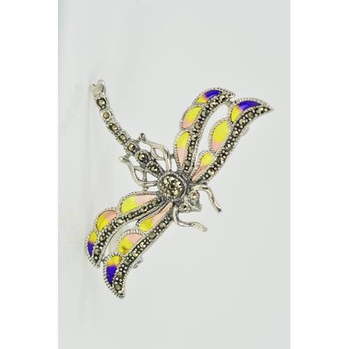 4 - A MARCASITE AND PLIQUE-A-JOUR ENAMEL DRAGONFLY BROOCH/PENDANT, designed with yellow and purple ename...