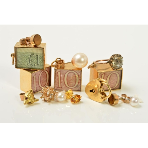 47 - A SELECTION OF MAINLY GOLD JEWELLERY, to include four rectangular charms enclosing notes, a heart pa...