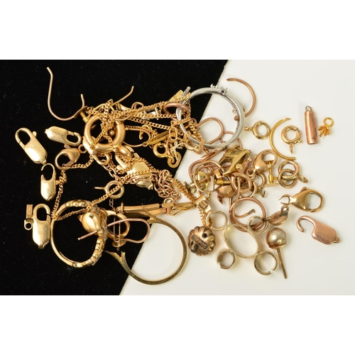 48 - A SELECTION OF SCRAP BROKEN JEWELLERY, to include chains, clasps, rings, pendants, etc, most with ma...