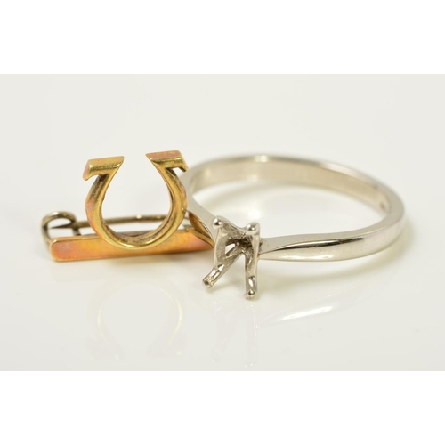 50 - A PLATINUM RING MOUNT AND AN OMEGA PIN BROOCH, the platinum ring mount with four claws, with Birming...