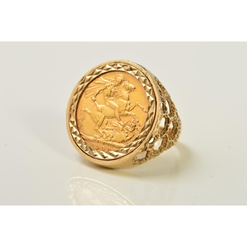 51 - A SOVEREIGN 9CT GOLD RING, the full sovereign for 1908 within a 9ct gold mount with pierced, texture...