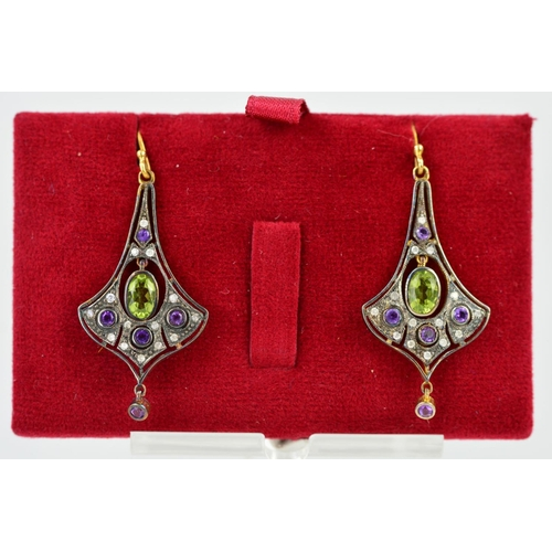 6 - A PAIR OF PERIDOT, AMETHYST AND DIAMOND EARRINGS, of tapered outline designed with a suspended centr...