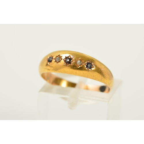 60 - A LATE VICTORIAN 15CT GOLD SAPPHIRE AND DIAMOND RING, designed as a row of three circular sapphires ...