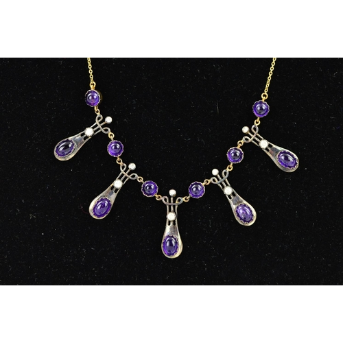 7 - AN AMETHYST AND DIAMOND NECKLACE, designed as five tapered, rounded panels with scrolling detail to ...