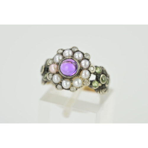 9 - AN AMETHYST, SPLIT PEARL AND DIAMOND RING, designed as a central circular amethyst cabochon within a...