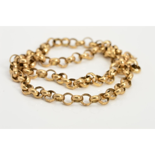 27 - A 9CT GOLD CHAIN NECKLACE, the belcher link chain with a spring release clasp, with 9ct hallmark for...