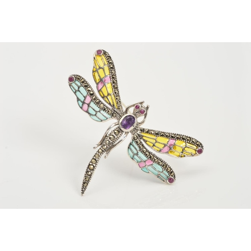 36 - A PLIQUE-A-JOUR ENAMEL, GEM AND MARCASITE DRAGONFLY BROOCH/PENDANT, designed with an oval amethyst b...