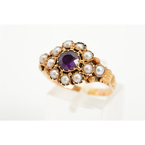 4 - A LATE VICTORIAN GOLD AMETHYST AND SPLIT PEARL RING, the central circular amethyst  within a split p...