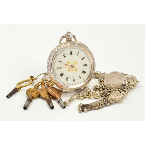 48 - AN EARLY 20TH CENTURY SILVER OPEN FACE POCKET WATCH, ALBERTINA AND FIVE WATCH KEYS, the pocket watch...