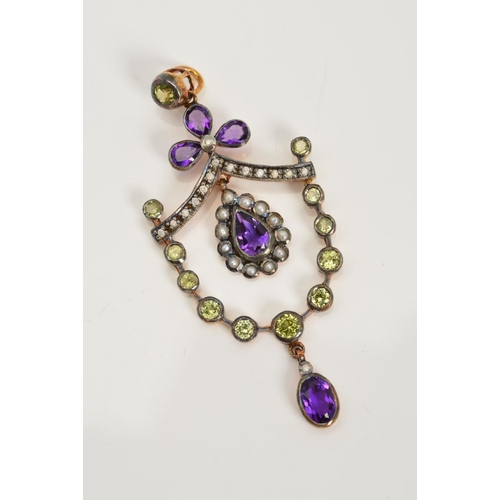 56 - A PERIDOT, AMETHYST, DIAMOND AND SPLIT PEARL PENDANT, of openwork designer, a pear shape amethyst wi...