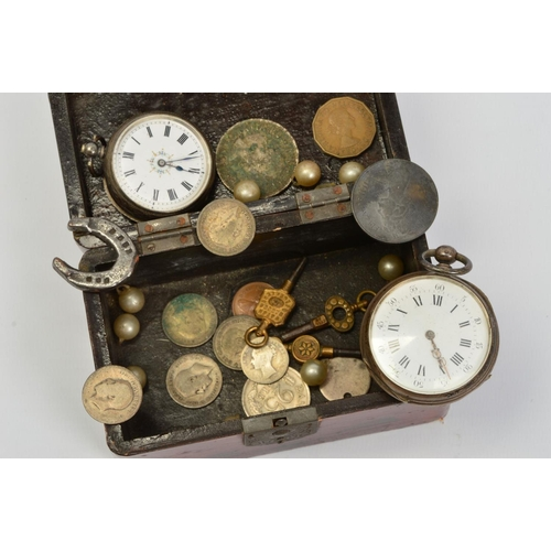 58 - TWO EARLY 20TH CENTURY SILVER POCKET WATCHES AND COINS, the pocket watches with white dials and blac...