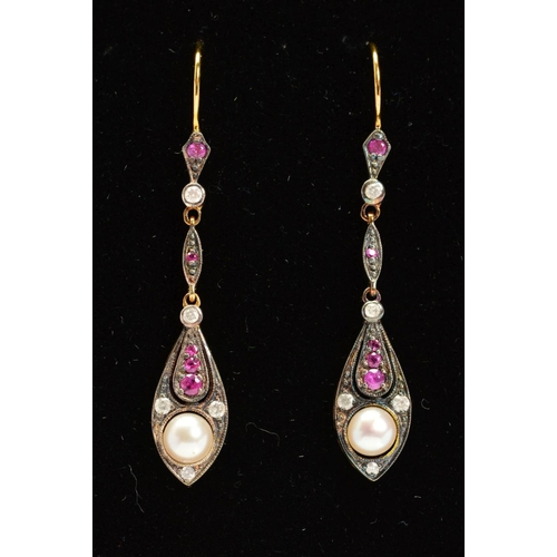 60 - A PAIR OF RUBY, DIAMOND AND CULTURED PEARL DROP EARRINGS, each designed as a pear shape panel set wi...