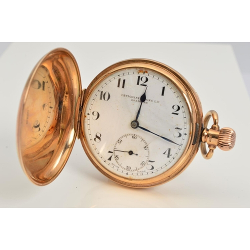 2 - A 9CT GOLD FATTORINI & SONS FULL HUNTER POCKET WATCH, case measuring approximately 50mm, white ename...