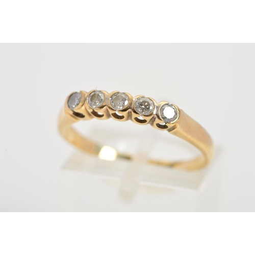 42 - A 9CT GOLD FIVE STONE DIAMOND RING, designed as a row of five brilliant cut diamonds within part col...