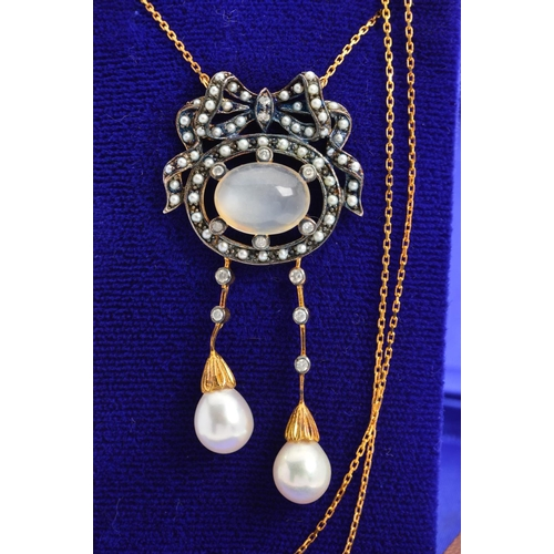 13 - A DIAMOND, PEARL AND MOONSTONE PENDANT NECKLACE, designed as a central oval cabochon moonstone with ...