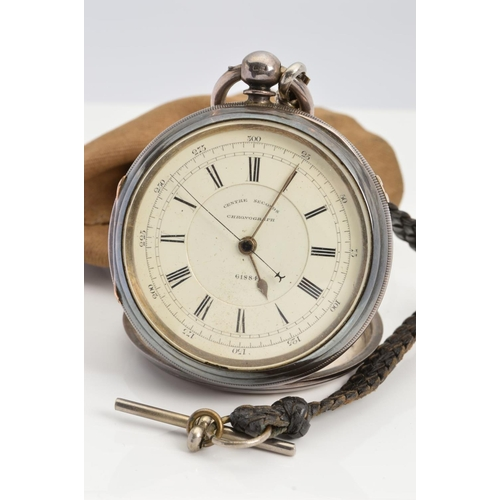 17 - A SILVER POCKET WATCH, white enamel Roman numeral dial, dial signed 'Centre Seconds Chronograph 6188...