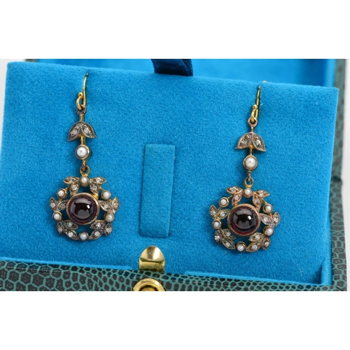 3 - A PAIR OF GARNET, DIAMOND AND SPLIT PEARL DROP EARRINGS, each with a circular garnet cabochon within...