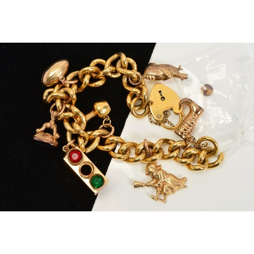 7 - A CHARM BRACELET, the curb link bracelet suspending seven charms to include traffic lights and a gob...