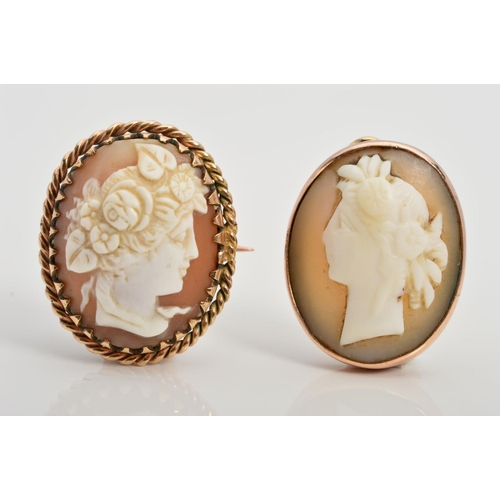 8 - A CAMEO, BROOCH AND CAMEO PENDANT, both designed as oval cameo panels depicting a lady in profile, p...