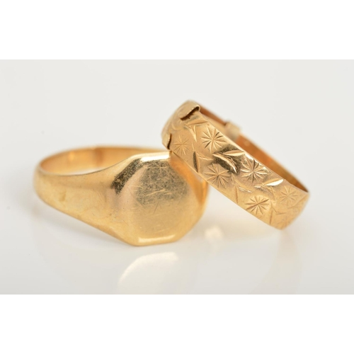 11 - TWO RINGS, to include a signet ring, stamped 9ct, band split, together with a band ring with engrave...