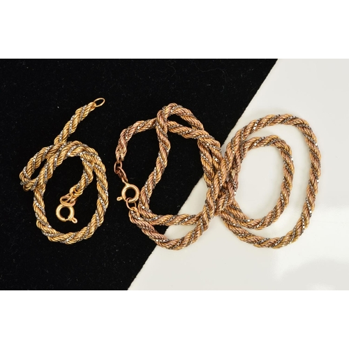 14 - A 9CT GOLD ROPE TWIST BI-COLOUR NECKLACE AND BRACELET, both designed as a yellow gold rope twist cha...