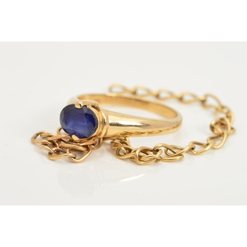 34 - A 9CT GOLD GEM RING AND A PIECE OF 9CT GOLD CHAIN, the ring designed as an oval blue gem, assessed a...