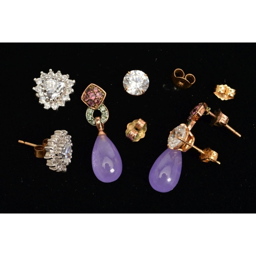 36 - THREE PAIRS OF EARRINGS, the first a pair of circular colourless cubic zirconia studs, stamped 14k, ...