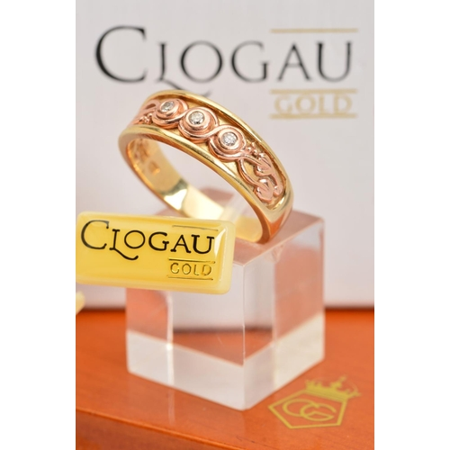 45 - A CASED LIMITED EDITION 9CT GOLD CLOGAU TREE OF LIFE TRILOGY DIAMOND RING, designed as a tapered ban...