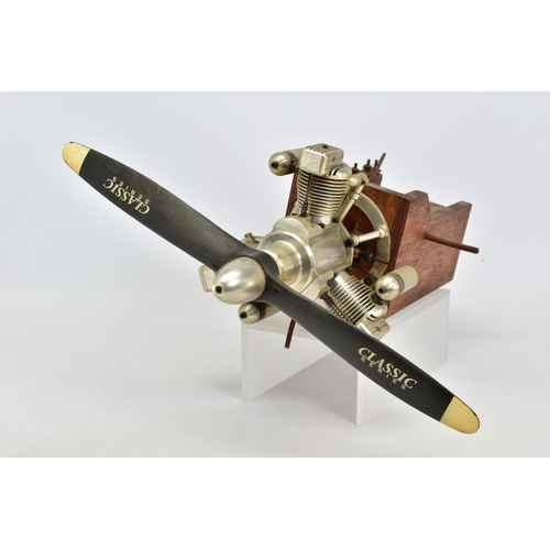 50 - A HANDBUILT MODEL THREE CYLINDER RADIAL AIRCRAFT ENGINE, not tested, constructed and finished to a v...