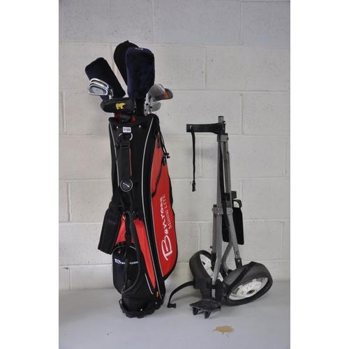 1120 - A BENROSS GOLF BAG, CLUBS AND A TROLLEY including  MD Golf, Howson, Golden Bear, etc...