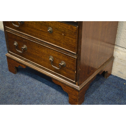 1225 - A SMALL EARLY 20TH CENTURY OAK CHEST OF THREE DRAWERS, width 49cm x depth 34cm x height 52cm (losses...
