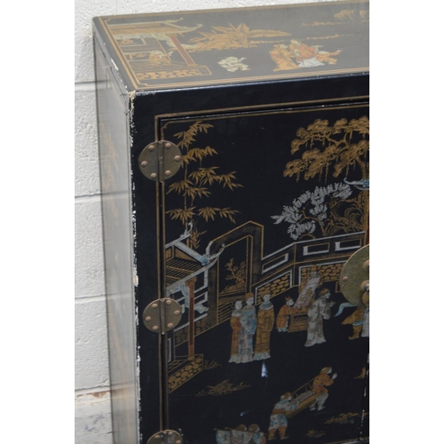 1231 - A LATE 20TH CENTURY CHINOSERIE TWO DOOR CABINET, on black ground above two drawers, width 82cm x dep...