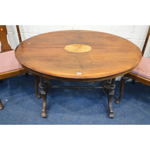 1245 - A LATE VICTORIAN WALNUT AND STRUNG OVAL CENTRE TABLE, width 115cm x depth 86cm x height 70cm and a s...