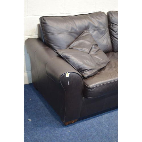 1269 - A DARK BROWN LEATHER THREE PIECE LOUNGE SUITE, comprising a two seater settee, width 210cm, and a pa...