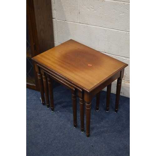 1270 - TWO MODERN OAK DRESSER TOPS, and a nest of three tables (3)...