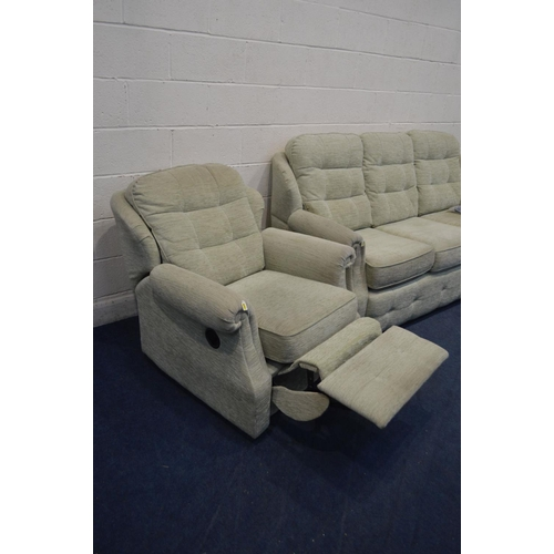 1278 - A G PLAN GREEN UPHOLSTERED THREE PIECE LOUNGE SUITE, comprising a three seater settee, armchair and ...