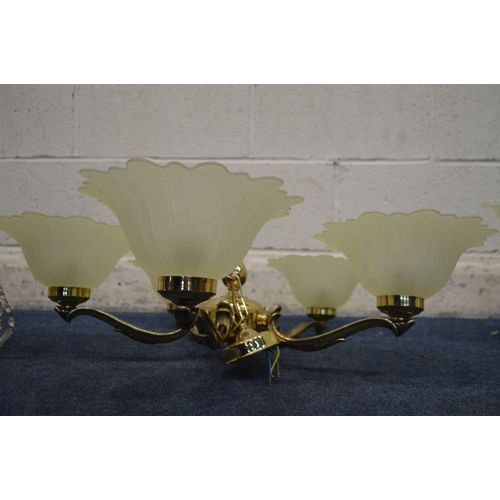 1285 - A PAIR OF MODERN BRASSED FIVE BRANCH CEILING LIGHTS, together with another ceiling light and a moder...
